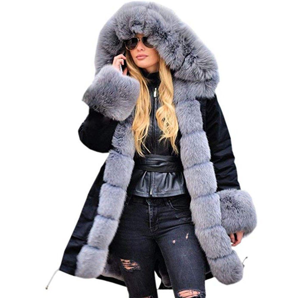 KLV M-3XL Mujer Casual Manga Larga Poliéster Sólido Faux Fur Chaqueta de invierno Parka con capucha Abrigo de cola negra Abrigo negro z1126