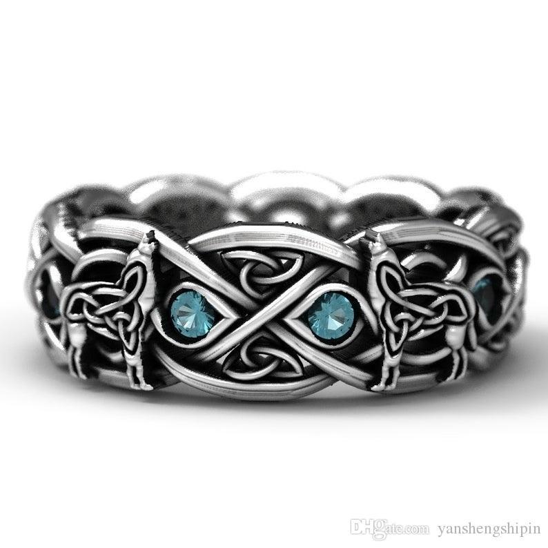 925 Gümüş Celtic Kurt Yüzük ile Topaz, Moda Viking Kurt Paslanmaz Çelik Alyans Nişan Takı boyutu 6-13