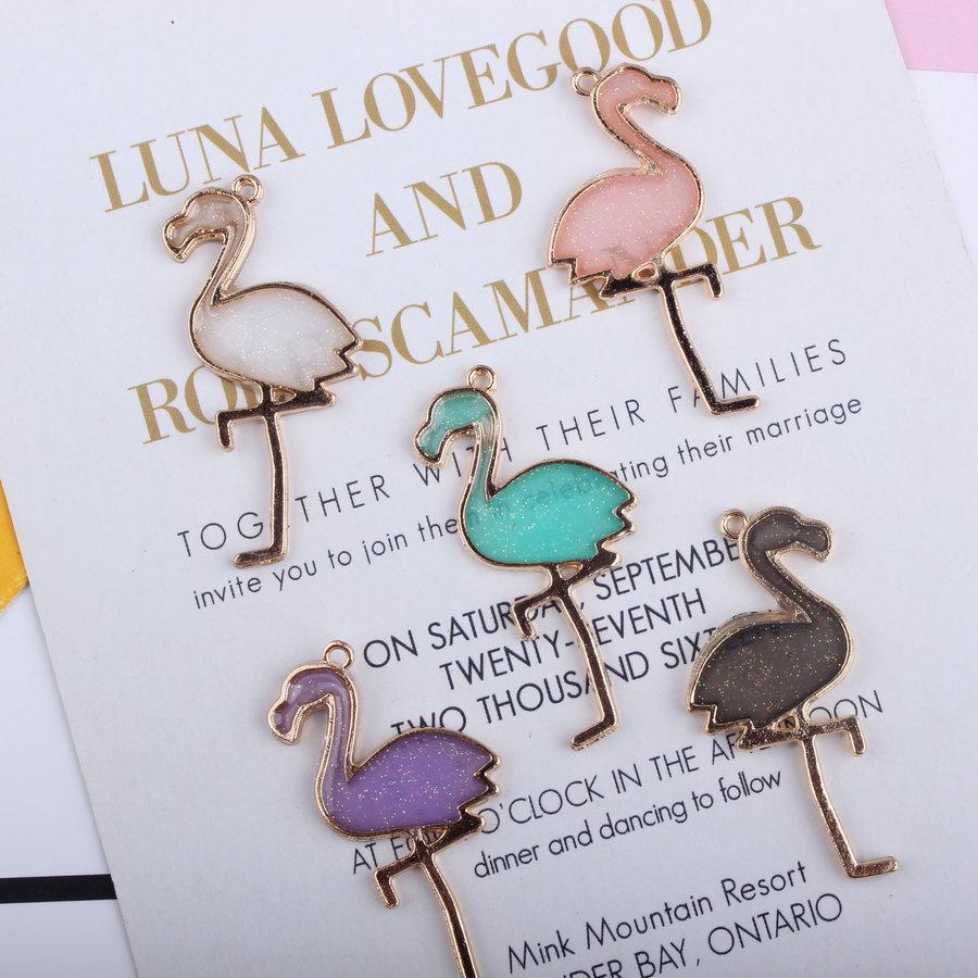 Plaqué or Flamingo émail de couleur Charms Pendentifs pour Diy main Boucles d'oreilles Collier porte-clés Bracelet Bijoux Faire Accessoires