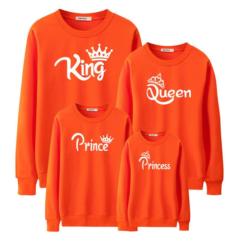 Fashion Family Look Mommy And Me Mother Daughter Father Son King Queen Princess Matching Clothes Black Sweatshirt Outfits Nmd Y190523