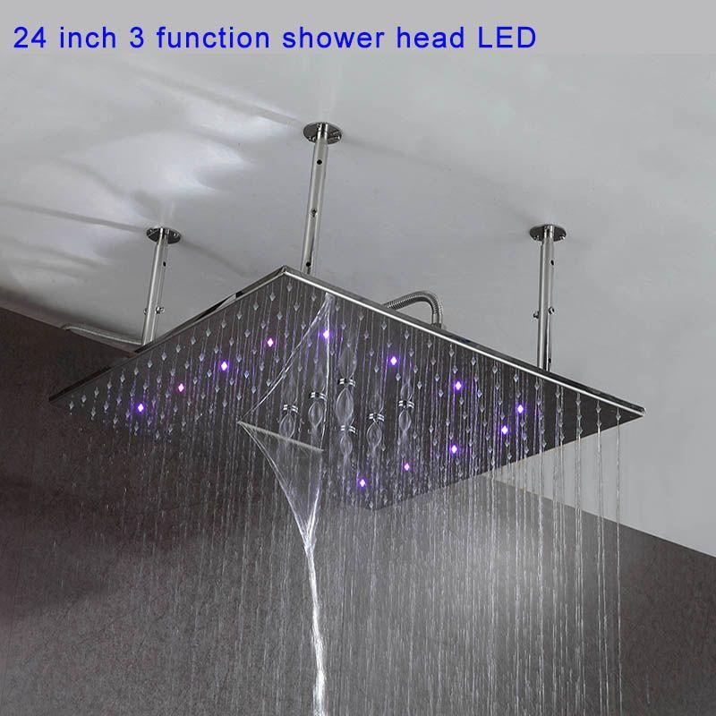 24 인치 수력 LED 라이트 3 개 기능 비 폭포 안개가 자욱한 욕실 샤워 헤드 Ducha 천장 (304) SUS 탑재