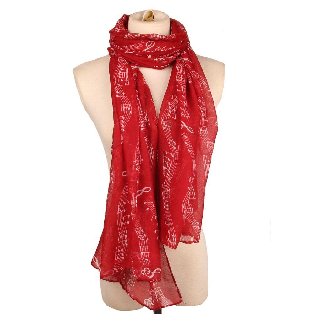 Nouvelle mode des femmes grandes filles Note de musique Imprimer longue écharpe Echarpes élégant ENTOURAGE Stole foulards Foulards