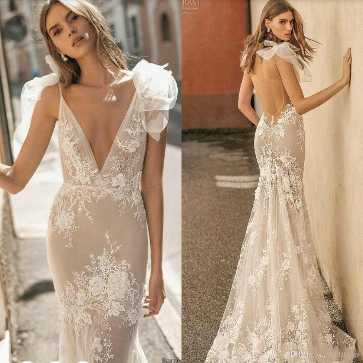Berta Privée 2019 Wedding Dresses Design Deep V Neck Sexy Spaghetti Mermaid Wedding Dress With Lace Appliques Illusion Bridal Gowns Backless