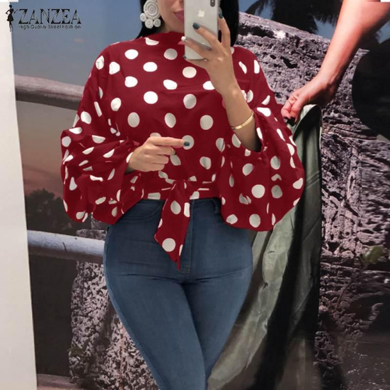 2020 İlkbahar Uzun Kollu Pileli Bluz ZANZEA Moda Polka Dot Baskılı Kadınlar Bow Tie İnce Mahsul Gömlek blusas Kadın Tunik Tops