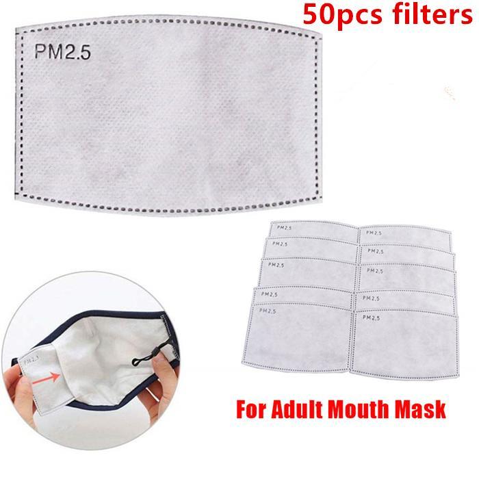 5 capas de papel reemplazable PM2.5 Máscara de filtro de carbón activado adulto del niño anti Haze Boca máscara anti polvo del aire de la mascarilla del filtro 50pcs