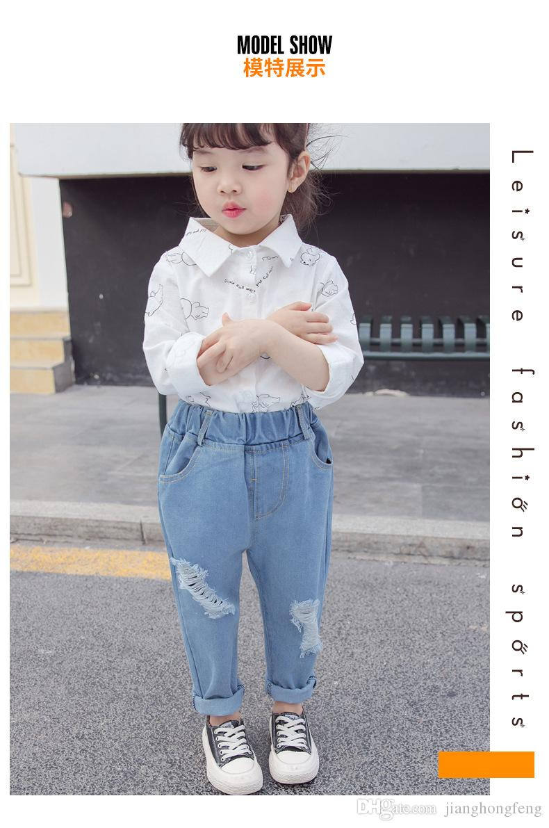 Unisex Denim Kids Jeans Loose Casual Blue Cowboy Toddler Girls Pants High Quality Cotton Children Ripped Jeans Trousers 1-5 Year