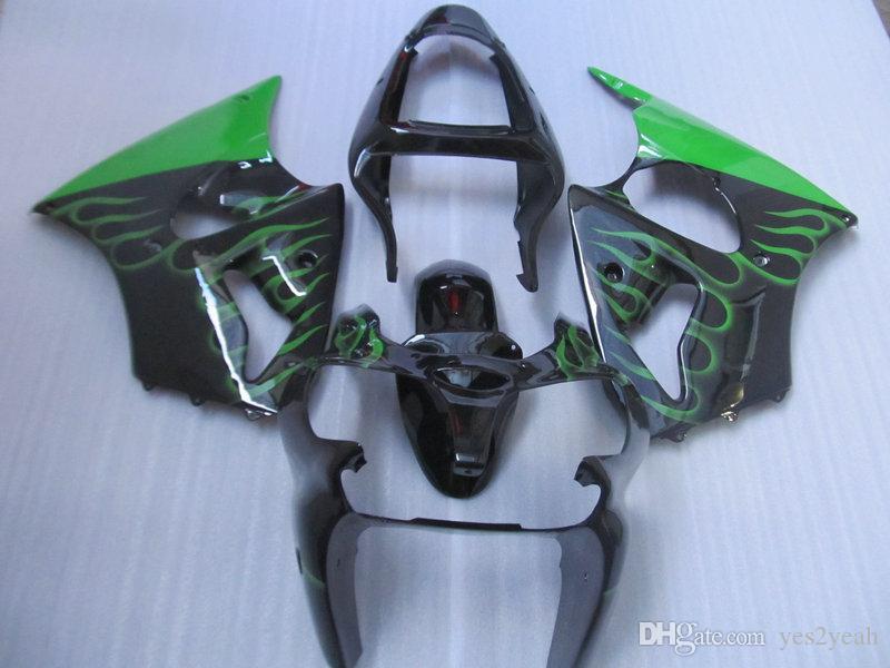 Iniezione carenatura body kit per Kawasaki Ninja ZX6R 2000 2001 2002 636 Carrozzeria ZX 6R 00 01 02 verde nero Set carenature