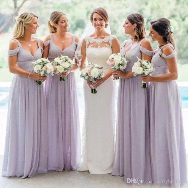 Элегантные с плеча сиреневые шифон невесты платья лето свадебные горничные честь платья до пола длиной Vestidos de Dama de Honor BM0609