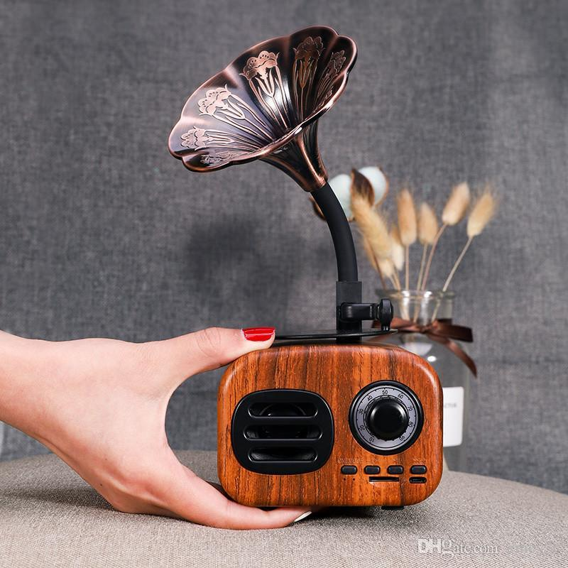 La alta calidad de radio retro del bluetooth altavoz portátil portatil soporte del altavoz del altavoz del gramófono cosecha de radio inalámbrica TF tarjeta de radio FM