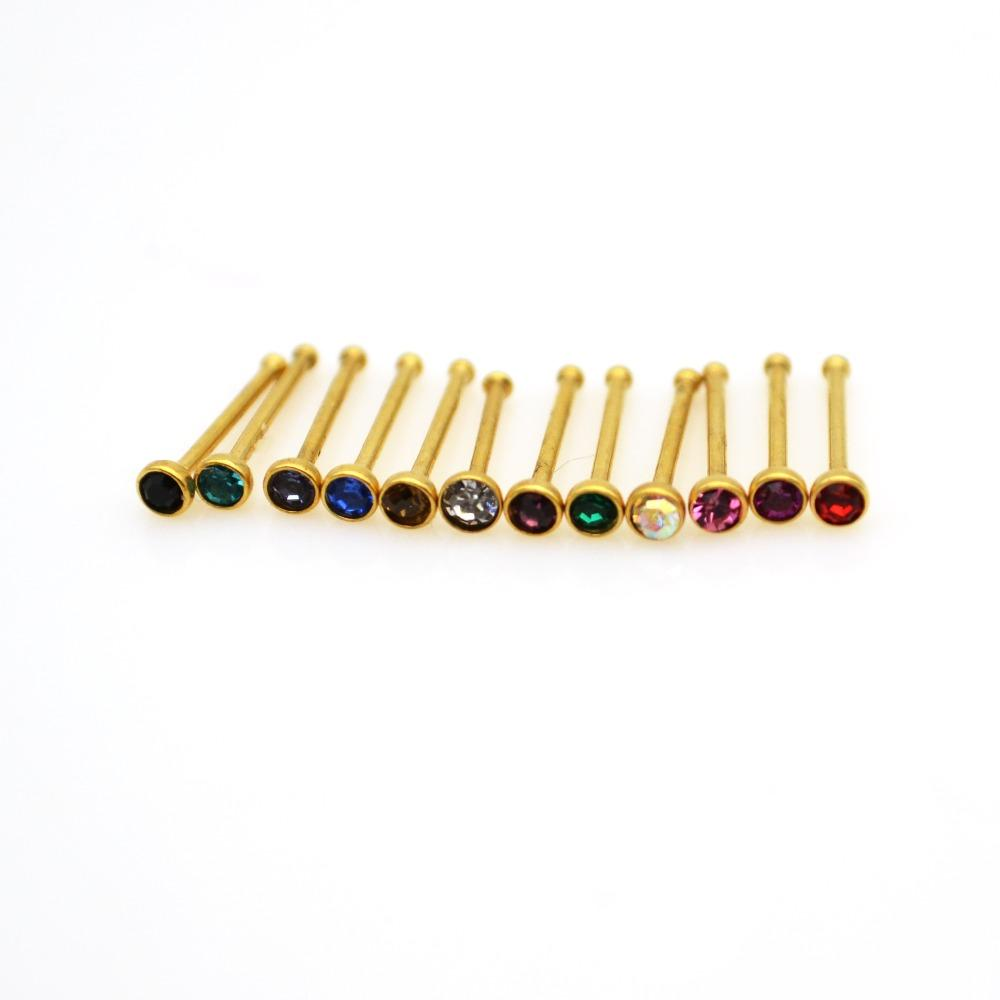 wholesale Gold Nose Stud Clear AB Crystal 2mm Gem 22G Straight Bone 316L Stainless Steel Rhinestone Hooks Bar Pin Nose Piercing