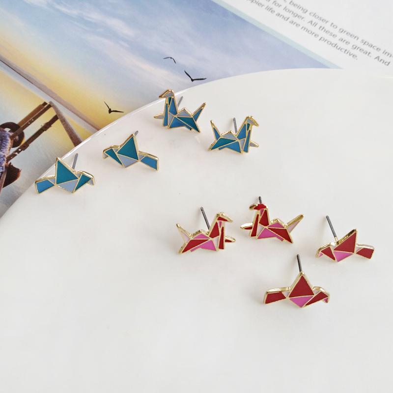 1Pair Fashion Origami Crane Stud Earrings little swallow baby Paper crane  bird earrings stud Animal jewelry for women|fashion stud earrings|little  stud earringsstud earrings - AliExpress | 800x800