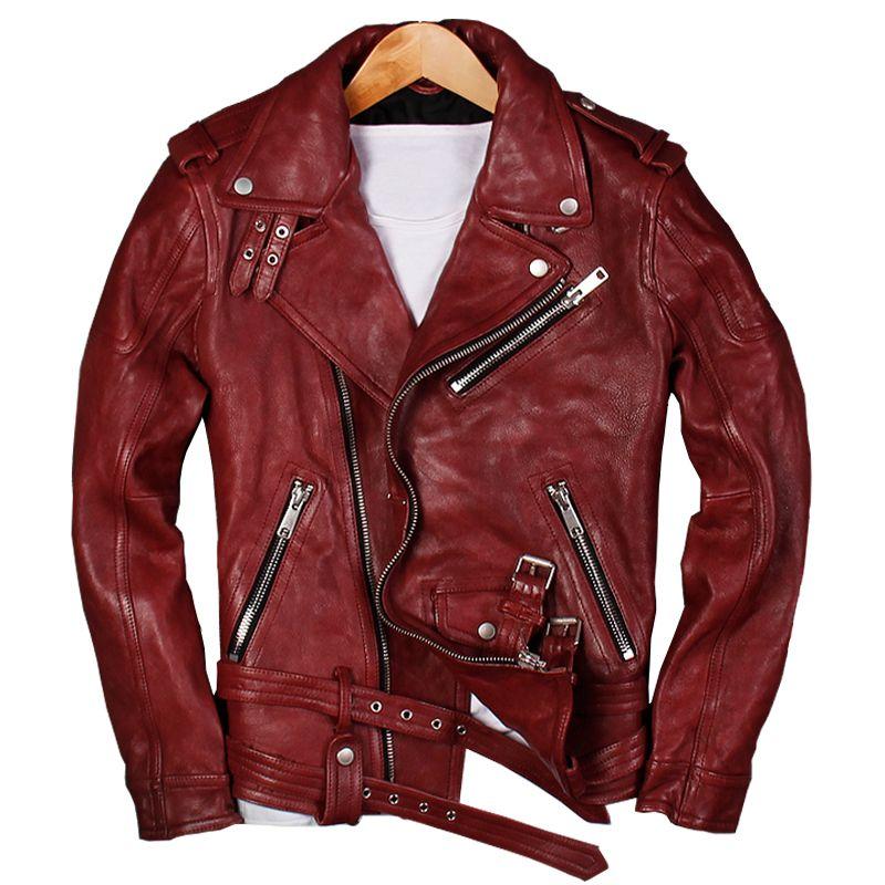2020 Erkekler Kırmızı Gerçek Deri Motosiklet Ceket Plus Size XXXL Gerçek Sheepskin Çapraz Fermuar Deri Biker Coat ÜCRETSİZ GÖNDERİM