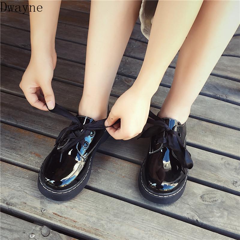 Весна и осень новой корейской версии круглых обуви головы Японские ретро Harajuku толстой подошве женской обуви