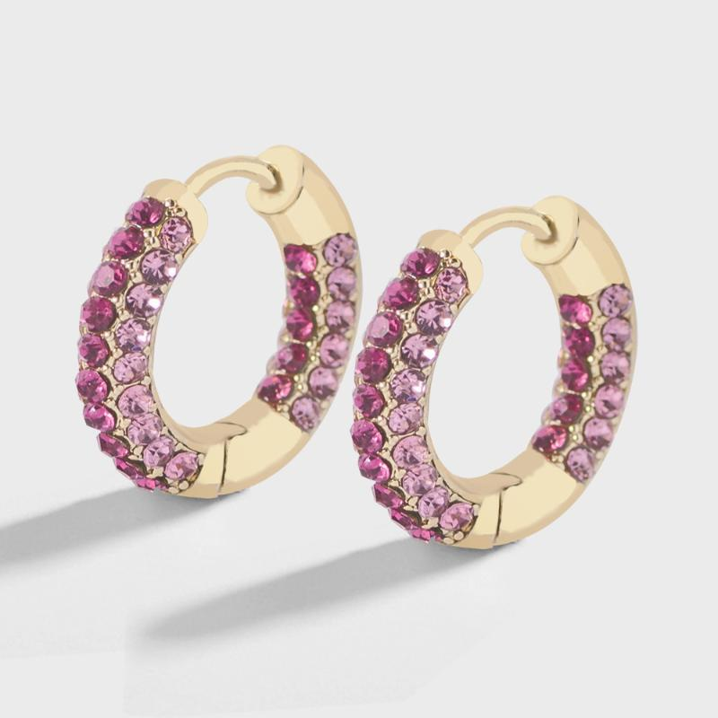Fashion Rainbow Colorful CZ zircone Huggies dei cerchi delle donne degli orecchini semplice dell'orecchio rotondo del cerchio della cartilagine impilabile monili del polsino femminile