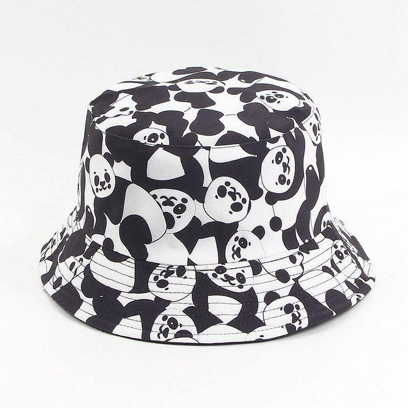 new designer panda print cotton Bucket Hat flat caps outdoor fishing hunting fisherman sunscreen folding cap