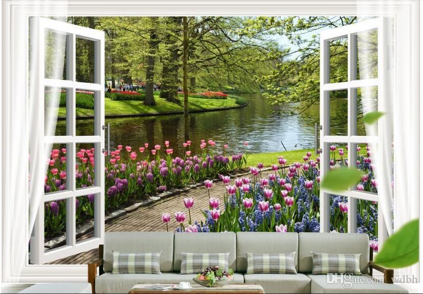 WDBH 3d papel de parede personalizado foto Flores rio pequeno paisagem do lado de fora da janela sala escritório Home decor 3d murais de parede papel de parede para paredes 3 d