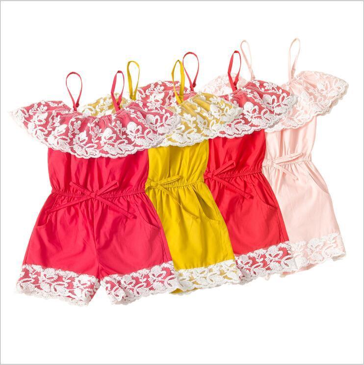 السروال القصير الطفل بنات الرباط الصلبة الرافعة حللا أطفال الصيف الأميرة داخلية السراويل بوتيك Playsuits تسلق الملابس ل1--6T B7574