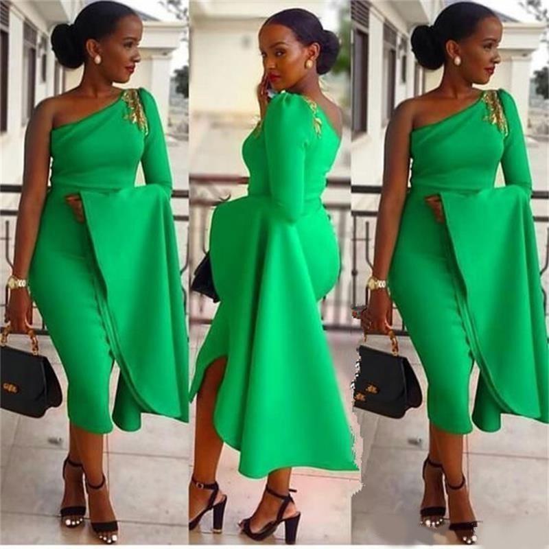 Nuevos vestidos de fiesta de cócteles sudafricanos para mujeres baratos de un hombro de un hombro de longitud Abendkleider Formal Short Vestidos de fiesta de fiesta de la tarde