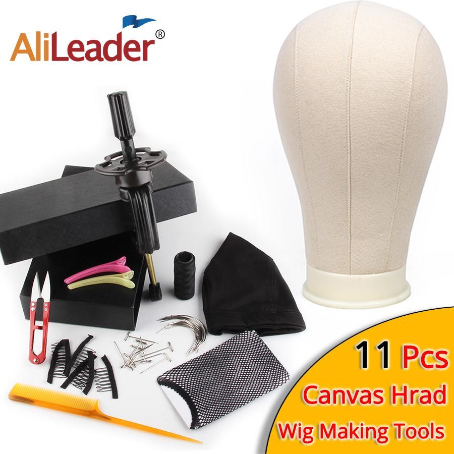 AliLeader Mejor 11pcs peluca Haciendo Kit maniquí lienzo peluca cúpula del cabezal con el soporte Spandex tapa del domo lienzo Cabeza del bloque Maniquí