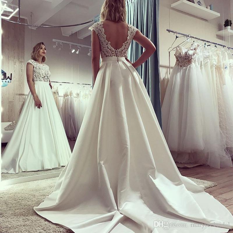 Элегантное свадебное платье А-силуэта с короткими рукавами Спинки с капюшоном Поезд Свадебные платья Винтажные аппликации Vestido Novia на заказ Свадебные платья