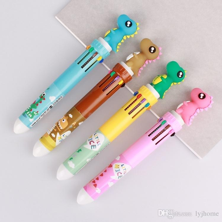 10 Colors Kawaii Colored Ballpoint Pens Dinosaur Cartoon Multi Color Changing Pen Ball Pen For Kids Gift Ballpoint Pen Kids Christmas gift