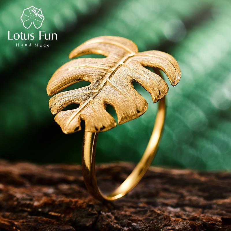 Lotus verdadeira diversão 925 Sterling Silver Natural Designer Belas jóias de ouro 18K folhas do monstera Anel Anéis ajustáveis para Mulheres Bijoux