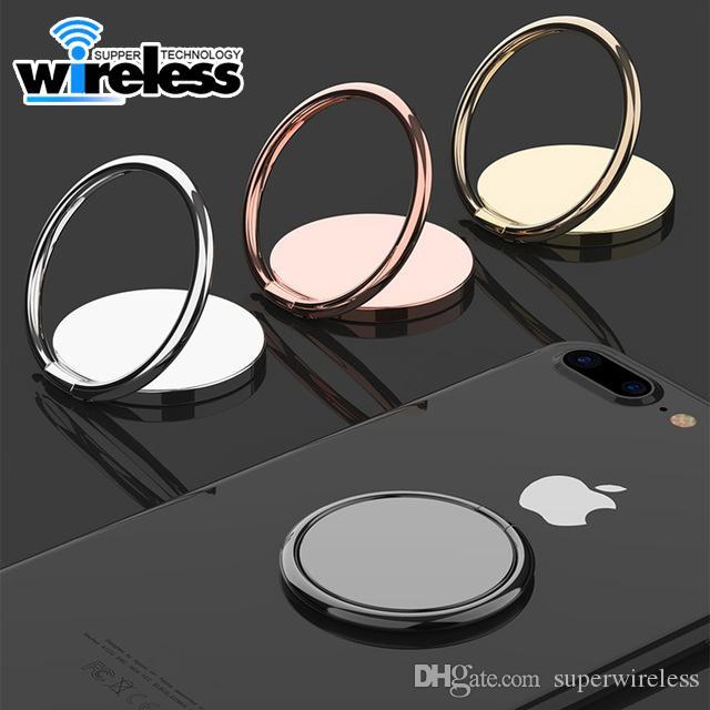 luxo metal Mobile Phone soquete Suporte Universal 360 graus de rotação dedo Titular anel magnético suporte do carro Suporte Acessórios