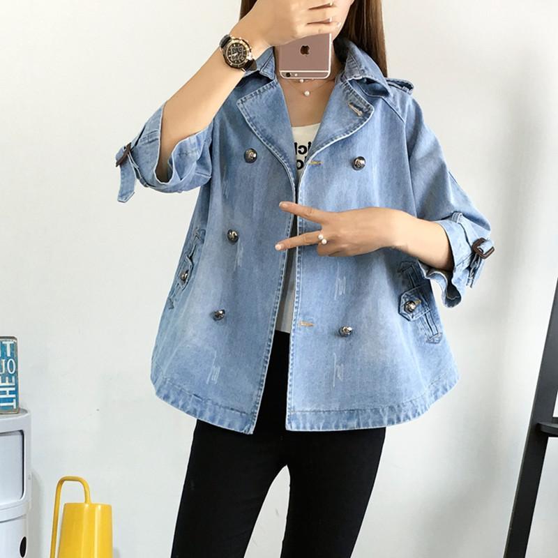 2019 Плюс размер женской одежды мода джинсовая куртка пальто с семью пунктами короткий ковбой куртка студентка повседневная верхняя одежда