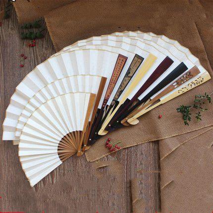 "DIY Blank White Folding Fan Rice Paper Large Hand Fans 7' 8' 9' 10' 11""12"" Adult Painting Calligraphy Program Chinese Bamboo Fan Bone 10pcs/"