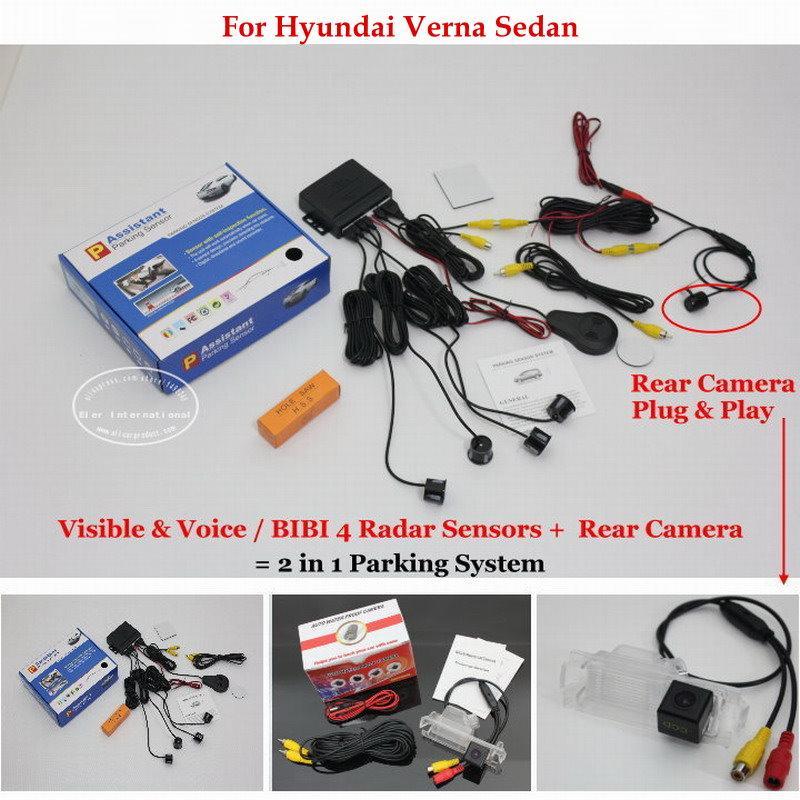 Liislee For Verna Sedan - датчики парковки автомобиля + камера заднего вида заднего вида = 2 в 1 визуальная / BIBI сигнализация парковочная система