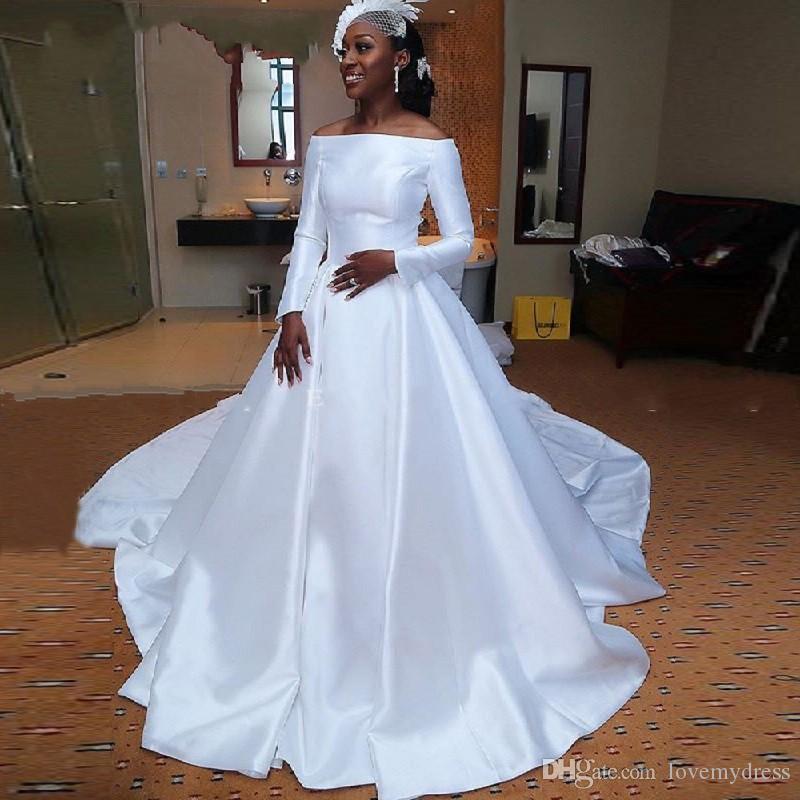 Robes de mariée simples sud-africaines noires 2020 à manches longues sur l'épaule drapée tribunal train robes de mariée réception de mariage