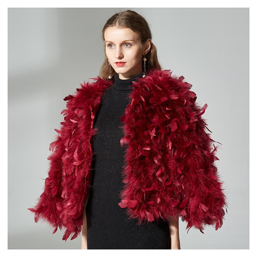 Escudo de punto genuino del 100% de la chaqueta piel de la avestruz mullido pluma Fiebre chaquetas de piel hecho a mano natural de las mujeres avestruz