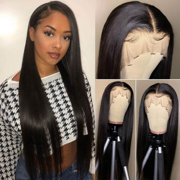Lace Front Wigs Human Hair Pre Plucked for Women 13x4 Deep Part Straight Lace Front Wigs With Baby Hair 180% Density Brazilian Hair Wigs