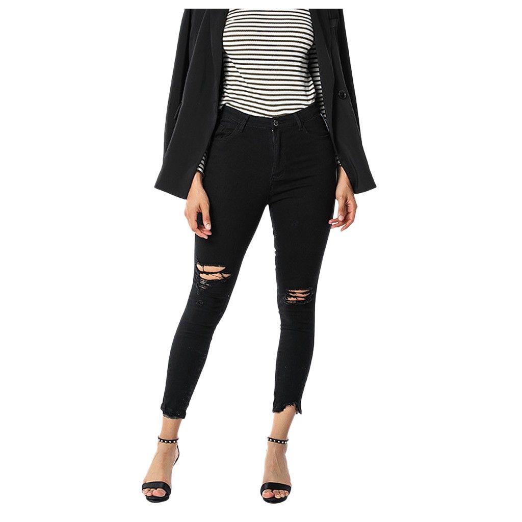 Plus Size Donne Nuovi Pantaloni Della Matita Del Cotone Selvaggio Pantaloni Per Il tempo libero Abbigliamento donna Foro In Europa e in America popolare Jeans # J30