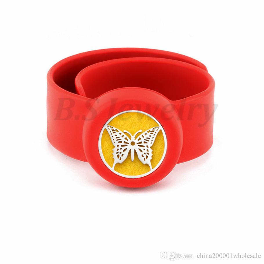 buttefly Kids Silcone Adjustable Mosquito Repellent Bangle Essential Oil Diffuser Slap Bracelet With Stainless Steel Diffuser Locket