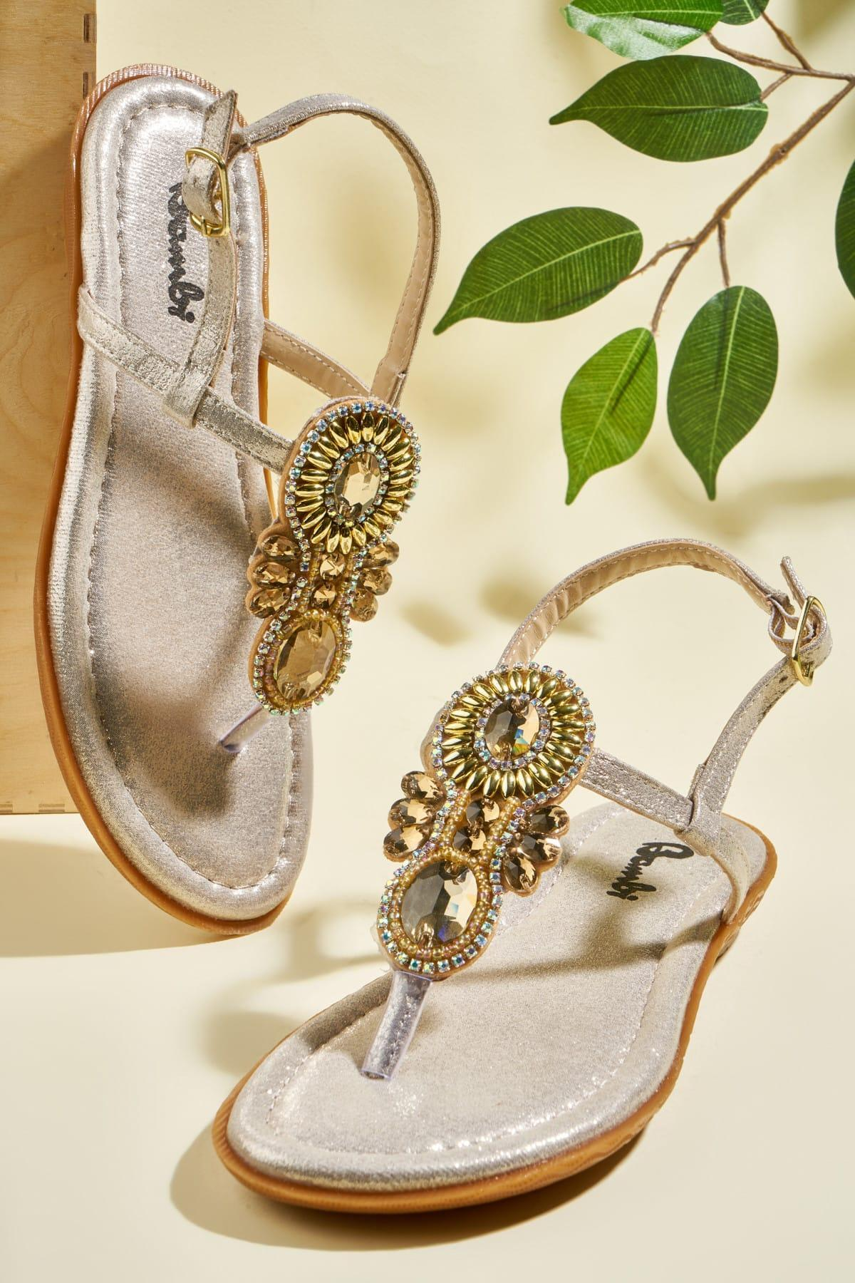 Bambi Altın Kadın Sandalet H06250003