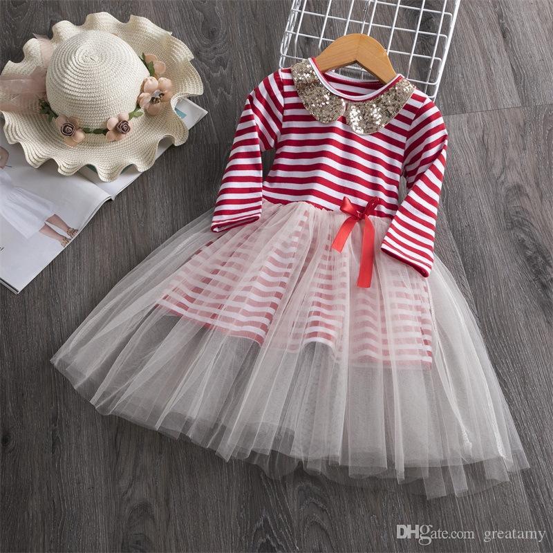 أبيض أحمر الفتيات الطفل توتو التنانير مخطط مع مطرزة الأطفال طوق فستان الأميرة التنانير شبكة فقاعة