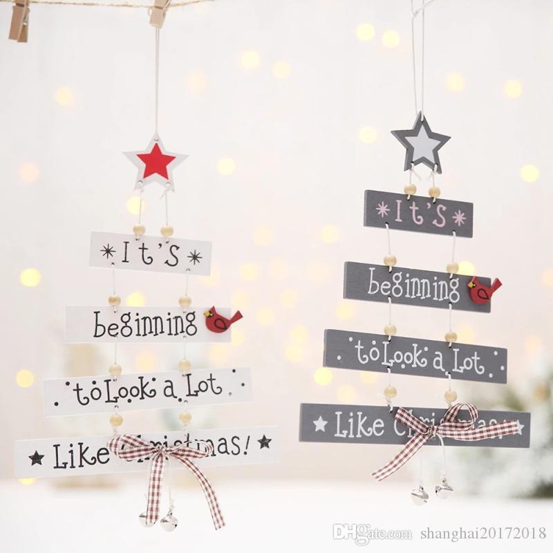 Nouvelle Arrivée Arbre De Noël Forme En Bois Suspendu Ornement Décoration De Noël pour La Maison Cloche Arc Lettres Étoile Pendentif Décor De Noël