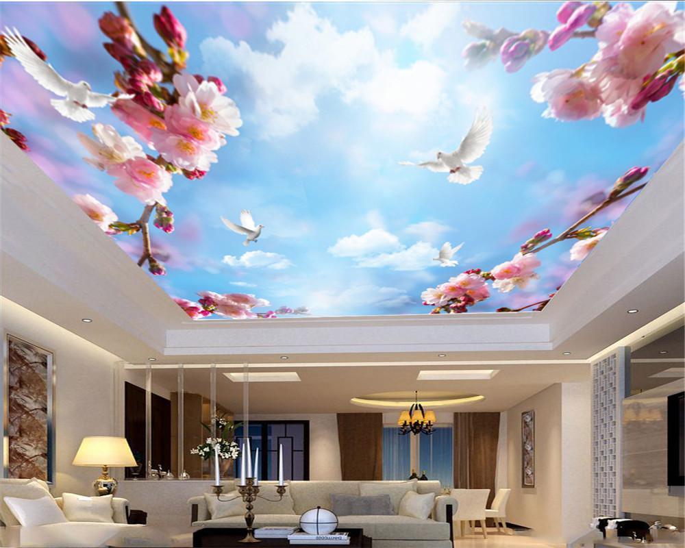 벽 종이 홈 인테리어 핑크 꽃 피는 흰 비둘기 비행 거실 침실 풍경 제니스 벽 배경 화면