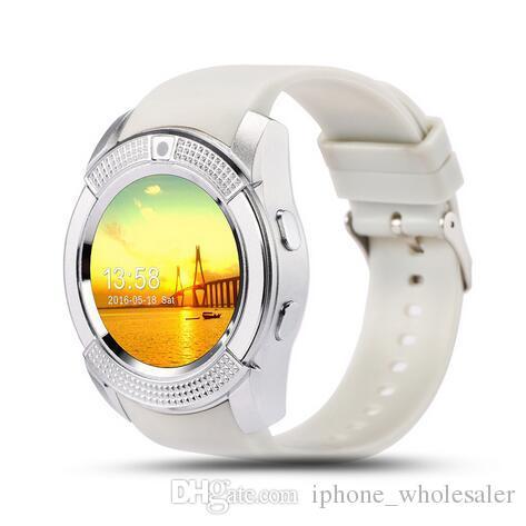 V8 GPS Relojes inteligentes Bluetooth Reloj de pulsera con pantalla táctil inteligente con cámara / Ranura para tarjeta SIM Reloj inteligente a prueba de agua para IOS Reloj del teléfono Android