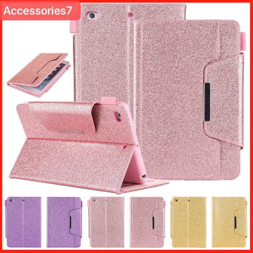 Lusso glitter bling vibrazione magnetica vibrazione sveglia / sonno porta carte porta carte di credito custodia antiurto per apple ipad 5 6 air 2 mini 2 3 4 pro