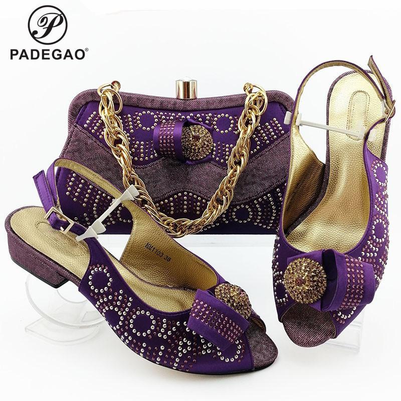 Lila Farbe italienische Damen Brautschuhe und Tasche zu Match-Satz Passende Schuhe und Tasche Ältere Art bequeme Hees für Party