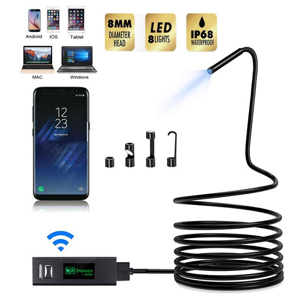 Wireless WiFi Mini-Endoskop-Kamera-HD 1200P Mini Soft / Hard-Kabel-Inspektionskamera 8mm 8LED Borescope Kamera für IOS Android PC