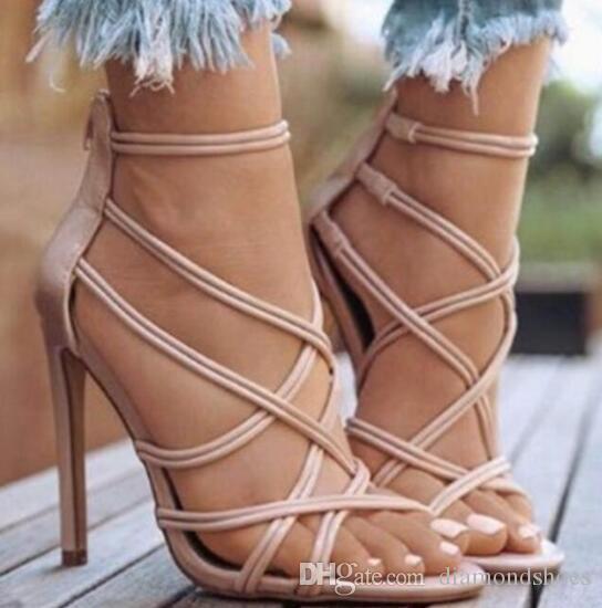 sexy mujer tacón alto estilo de malla hueca sandalia de verano INS mujer caliente tacón alto sandalia de correa hueca gladiador sandalia romana