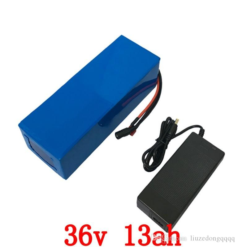US EU NO tax 36V Lithium Battery 500W 36V 13AH Electric bike Battery with PVC case use 2600MAH 18650 cell 15A BMS 42V 2A Charger