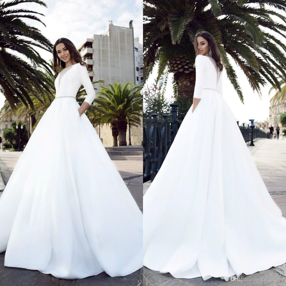discount 2019 latest design pockets satin wedding dresses 3/4 long sleeve  bridal dress sweep train country style bridal gowns strapless wedding