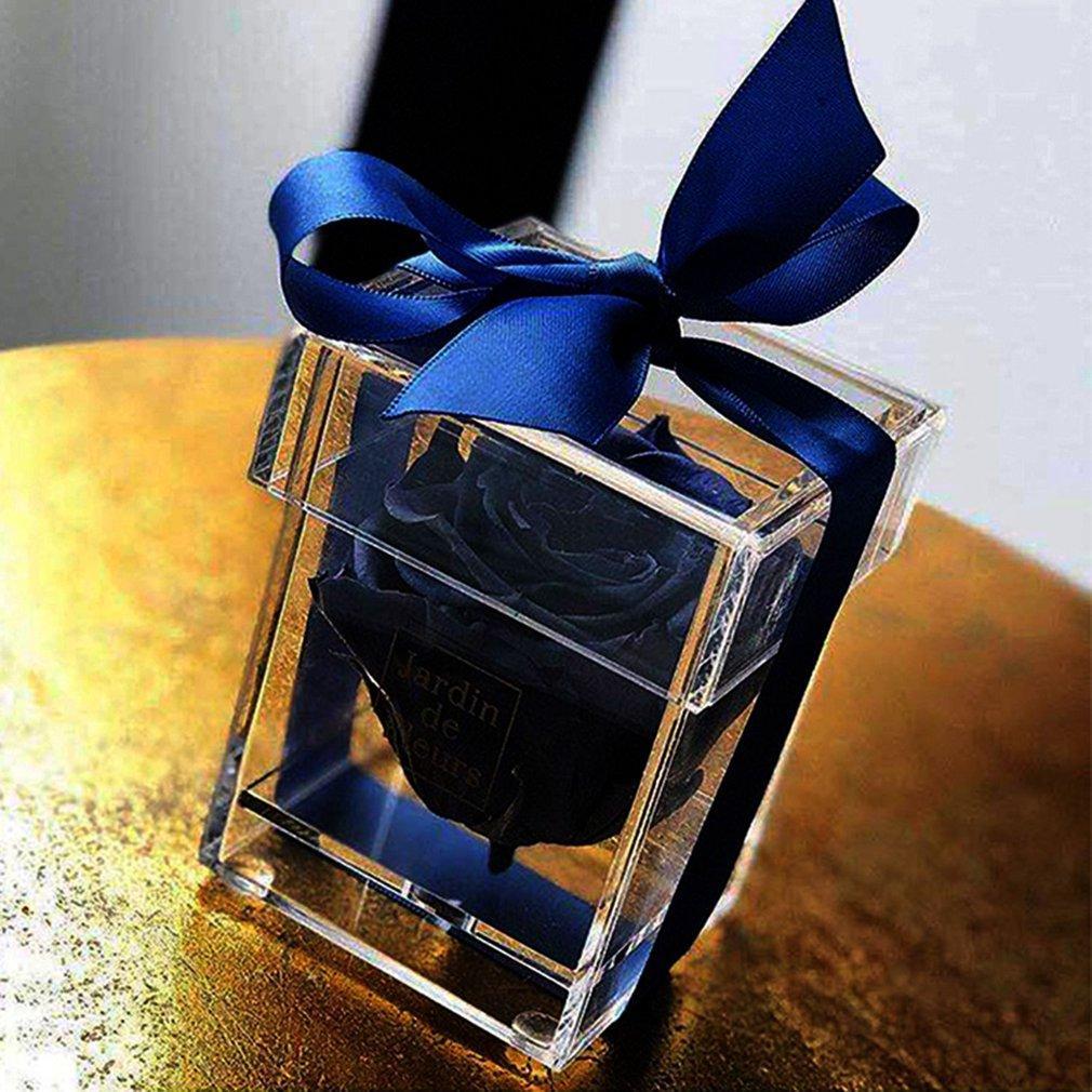 Soporte de exhibición de la joyería transparente Caja de almacenamiento del organizador de la joyería de acrílico pequeña mini caja de la flor decoración de moda regalo de las mujeres presente