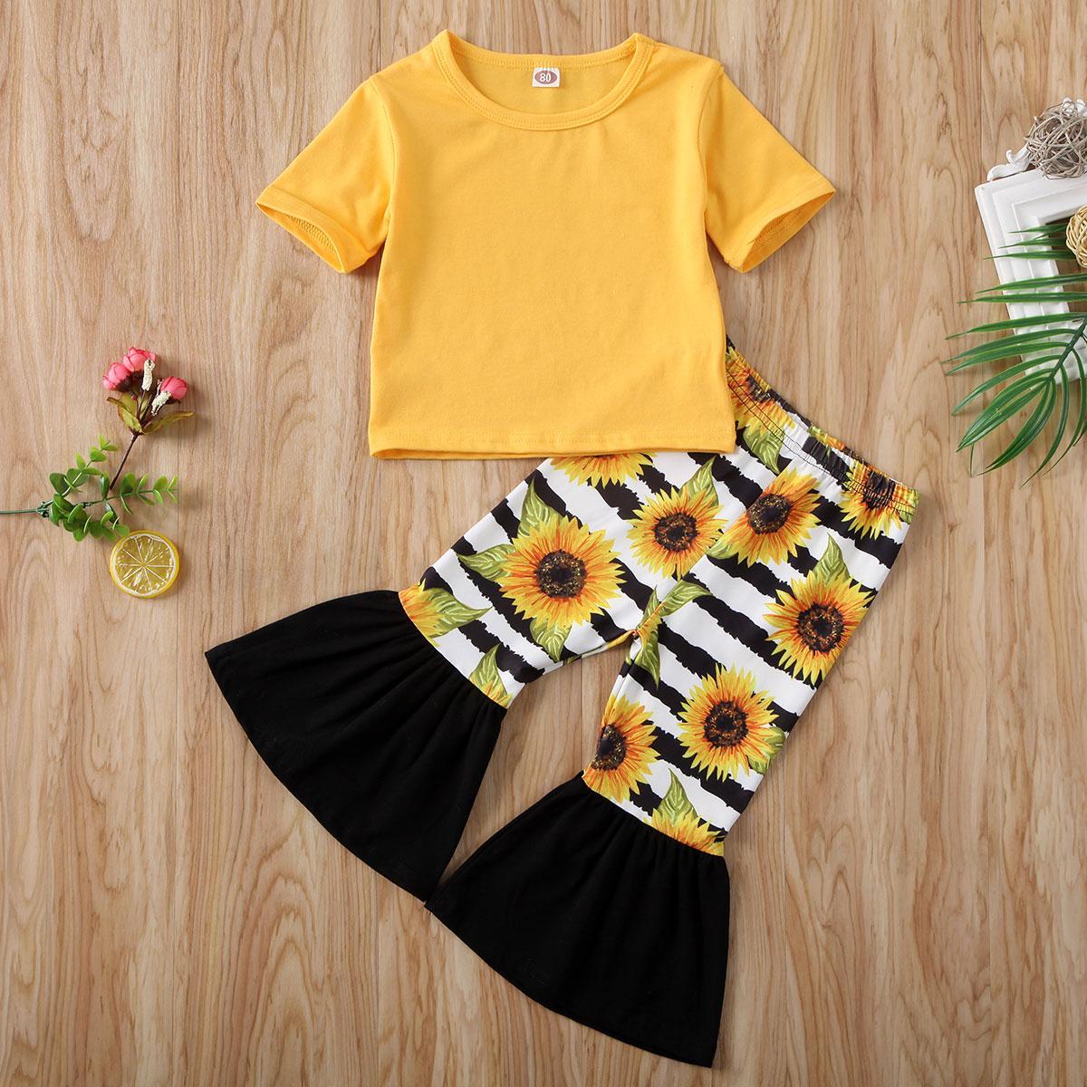 Pudcoco طفل طفلة ملابس قصيرة الأكمام T-Shirt أعلى عباد الشمس طباعة سروال مقلم طويل 2PCS تتسابق الملابس المصنوعة من القطن