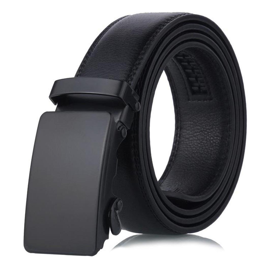 Fashion Men Artificial Leather Waist Belt Automatic Buckle 6 Types Solid Black Casual Belt 3.5cm/1.4inch