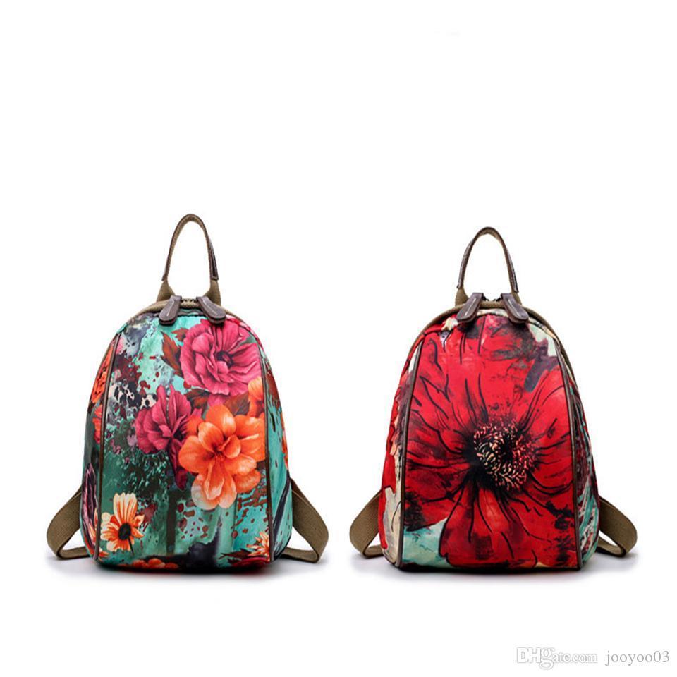 مصمم قدرة عالية متعددة الوظائف الأم حقيبة الظهر الأزياء زهرة نمط ارتداء مقاومة تنفس أكسفورد حقيبة سفر كل مطابقة نمط